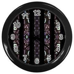 Oriental Floral Stripes Wall Clocks (Black)