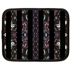 Oriental Floral Stripes Netbook Case (Large)
