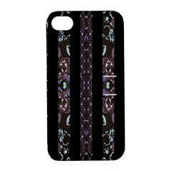Oriental Floral Stripes Apple Iphone 4/4s Hardshell Case With Stand