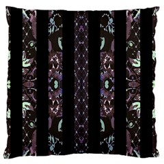 Oriental Floral Stripes Large Flano Cushion Case (One Side)