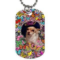 Chi Chi In Butterflies, Chihuahua Dog In Cute Hat Dog Tag (One Side)