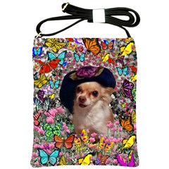 Chi Chi In Butterflies, Chihuahua Dog In Cute Hat Shoulder Sling Bags