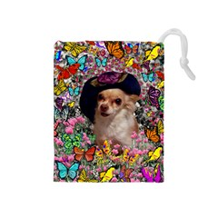 Chi Chi In Butterflies, Chihuahua Dog In Cute Hat Drawstring Pouches (Medium)