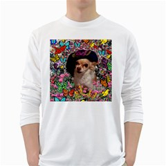 Chi Chi In Butterflies, Chihuahua Dog In Cute Hat White Long Sleeve T-Shirts