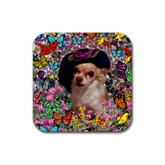 Chi Chi In Butterflies, Chihuahua Dog In Cute Hat Rubber Square Coaster (4 pack)