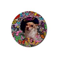 Chi Chi In Butterflies, Chihuahua Dog In Cute Hat Rubber Coaster (Round)