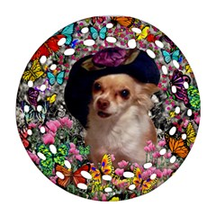 Chi Chi In Butterflies, Chihuahua Dog In Cute Hat Ornament (round Filigree)