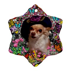 Chi Chi In Butterflies, Chihuahua Dog In Cute Hat Snowflake Ornament (2-Side)