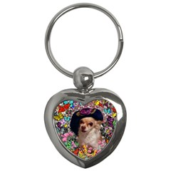 Chi Chi In Butterflies, Chihuahua Dog In Cute Hat Key Chains (Heart)