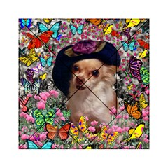 Chi Chi In Butterflies, Chihuahua Dog In Cute Hat Acrylic Tangram Puzzle (6  x 6 )