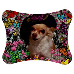 Chi Chi In Butterflies, Chihuahua Dog In Cute Hat Jigsaw Puzzle Photo Stand (Bow)