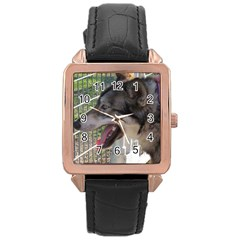 9 Month old wolf  Rose Gold Leather Watch
