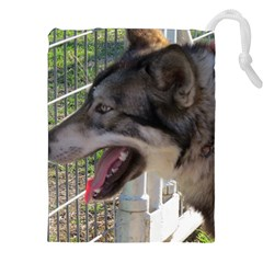 9 Month old wolf  Drawstring Pouches (XXL)