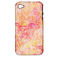 Sunny floral watercolor Apple iPhone 4/4S Hardshell Case (PC+Silicone)