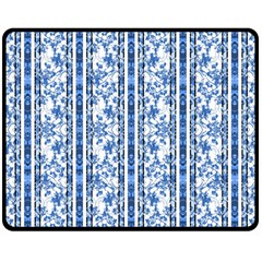 Chinoiserie Striped Floral Print Double Sided Fleece Blanket (medium)