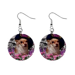 Chi Chi In Flowers, Chihuahua Puppy In Cute Hat Mini Button Earrings