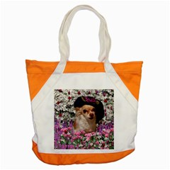 Chi Chi In Flowers, Chihuahua Puppy In Cute Hat Accent Tote Bag