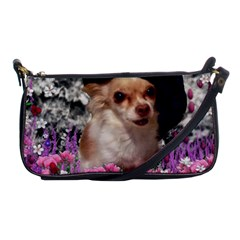 Chi Chi In Flowers, Chihuahua Puppy In Cute Hat Shoulder Clutch Bags