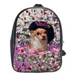 Chi Chi In Flowers, Chihuahua Puppy In Cute Hat School Bags (XL)  Front