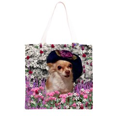 Chi Chi In Flowers, Chihuahua Puppy In Cute Hat Grocery Light Tote Bag