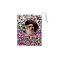 Chi Chi In Flowers, Chihuahua Puppy In Cute Hat Drawstring Pouches (xs)