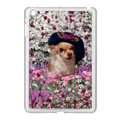 Chi Chi In Flowers, Chihuahua Puppy In Cute Hat Apple iPad Mini Case (White)