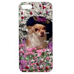 Chi Chi In Flowers, Chihuahua Puppy In Cute Hat Apple iPhone 5 Hardshell Case with Stand