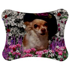 Chi Chi In Flowers, Chihuahua Puppy In Cute Hat Jigsaw Puzzle Photo Stand (Bow)