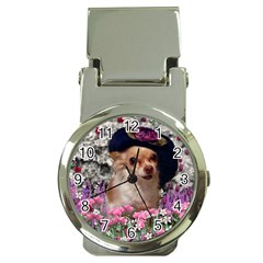 Chi Chi In Flowers, Chihuahua Puppy In Cute Hat Money Clip Watches