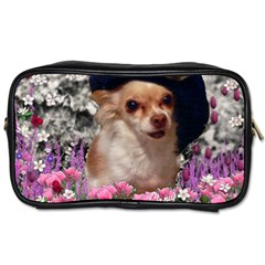 Chi Chi In Flowers, Chihuahua Puppy In Cute Hat Toiletries Bags 2 Side
