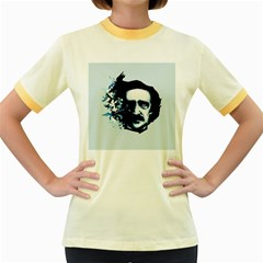 Edgar Allan Poe Crows Women s Fitted Ringer T-Shirts