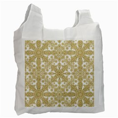 Golden Floral Boho Chic Recycle Bag (two Side)