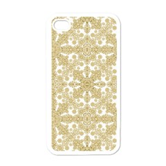 Golden Floral Boho Chic Apple iPhone 4 Case (White)
