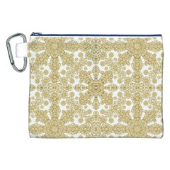 Golden Floral Boho Chic Canvas Cosmetic Bag (XXL)