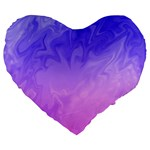 Ombre Purple Pink Large 19  Premium Flano Heart Shape Cushions Front