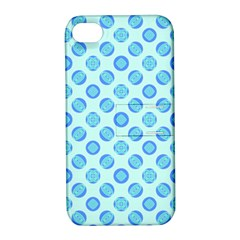 Pastel Turquoise Blue Retro Circles Apple iPhone 4/4S Hardshell Case with Stand