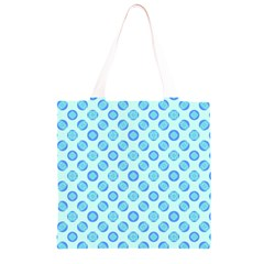 Pastel Turquoise Blue Retro Circles Grocery Light Tote Bag