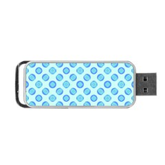 Pastel Turquoise Blue Retro Circles Portable Usb Flash (two Sides)