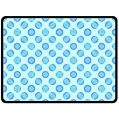 Pastel Turquoise Blue Retro Circles Double Sided Fleece Blanket (Large)