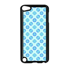 Pastel Turquoise Blue Retro Circles Apple iPod Touch 5 Case (Black)
