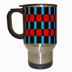 Black Red Rectangles Pattern                                                          Travel Mug (white)