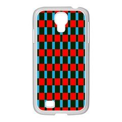 Black red rectangles pattern                                                          			Samsung GALAXY S4 I9500/ I9505 Case (White)