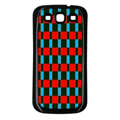 Black red rectangles pattern                                                          			Samsung Galaxy S3 Back Case (Black)