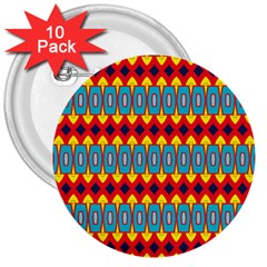 Rhombus and other shapes pattern                                                            			3  Button (10 pack)