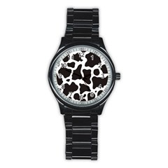 Cow Pattern Stainless Steel Round Watch