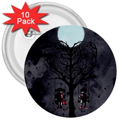 Love Tree 3  Buttons (10 pack)