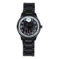 Love Tree Stainless Steel Round Watch