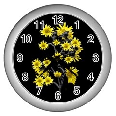 Sunflowers Over Black Wall Clocks (Silver)
