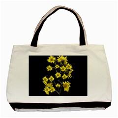 Sunflowers Over Black Basic Tote Bag