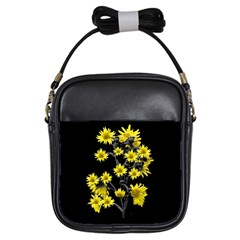 Sunflowers Over Black Girls Sling Bags